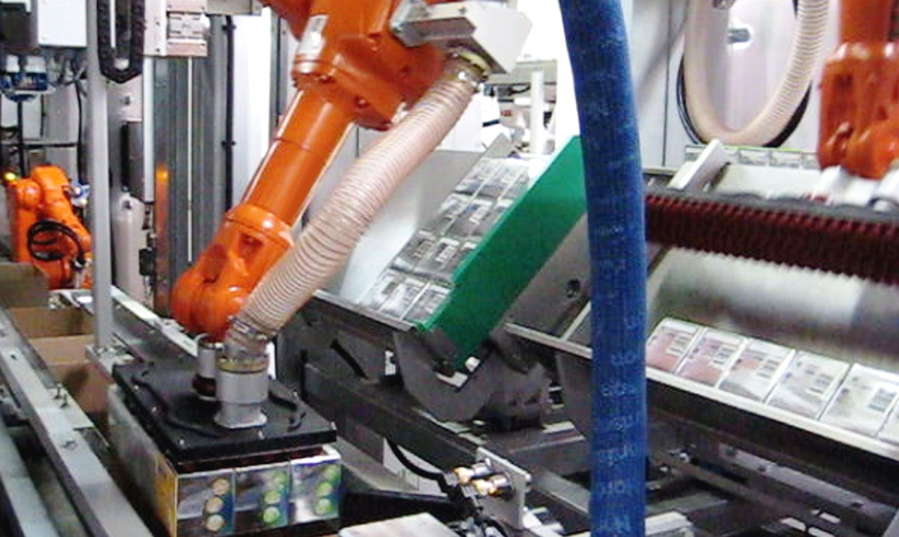 6-Achs-Robotertechnologie in Kombination mit einem intelligenten Produktgruppierungssystem.