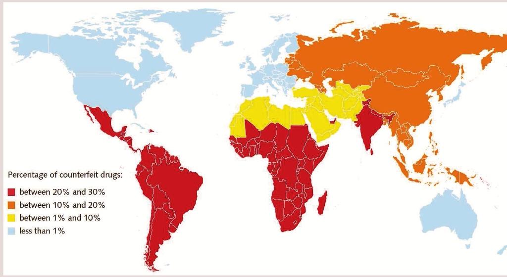 Die weltweite Verbreitung von Arzneimittelfälschungen und deren Schwerpunkte. Bild: WHO
