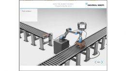 Die Module der UR Academy führen jeden Teilnehmer durch grundlegende Aufgaben, so zum Beispiel wie man einen UR-Roboterarm dafür programmiert, Teile in eine Box auf einem Fließband zu packen.