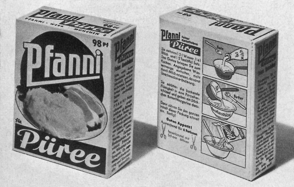 Ausgezeichnete Verpackung für Kartoffelpüree (1963).