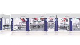 Die neue Anlage zum platzsparenden Verpacken von Portionspackungen besteht aus sieben Teilmaschinen.