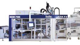 Thermoformsystem mit Rollenautomat IC-RDM 70K, kombiniert mit der servomotorisch angetriebenen Stapelung SZA 73c: Auf der Chinaplas entstehen darauf aus APET-Folie und mit einem 18-fach-Werkzeug Trinkbecher. Bild: Illig