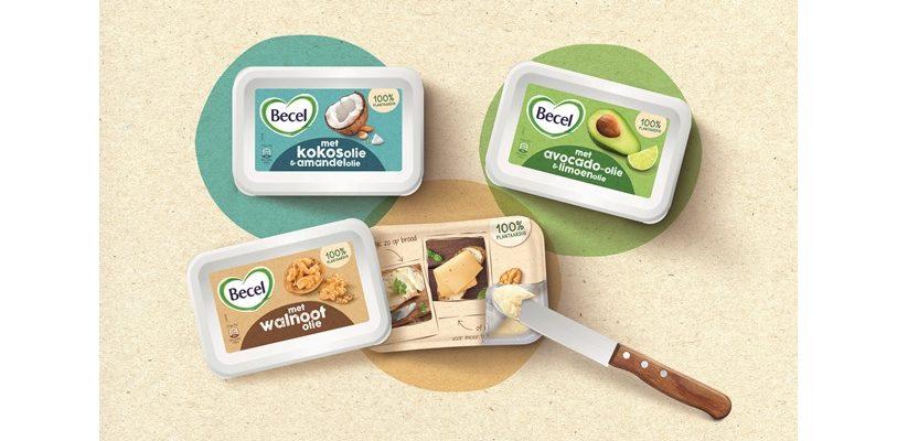 Becel Produktinnovationen in purem, natürlichen Design mit Anwendungstipps auf der Siegelfolie. Bild: Hajok Design
