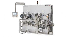 RCB-HS: Hermetisch dichte Siegelung in Falteinschlagoptik bei einer Leistung von 600 Riegeln pro Minute.