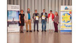 "Preisverleihung Innovation Award ""Bio-based Material of the Year 2017"" (v.l.n.r. Gordana Hofmann-Jovic, Sponsor InfraServ Knapsack (DE); Michael Carus, nova-Institut (DE); Eduardo Gordillo, Bio-Lutions (DE); Tuomas Mustonen, Paptic (Fl); Janin Wascinski, Phytowelt (DE); Asta Partanen, nova-Institut (DE)"