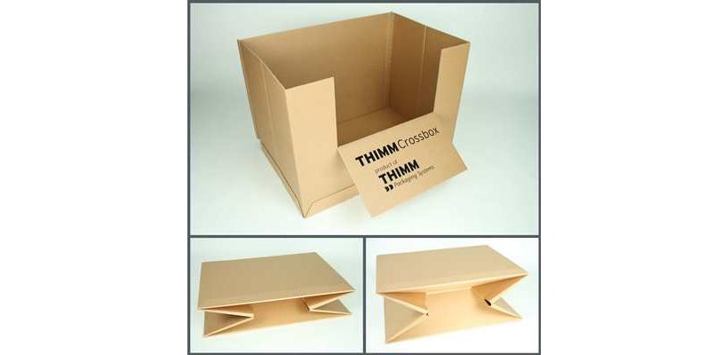 Die Thimm Crossbox: Zu sehen ist die aufgerichtete Verpackung sowie der Boden mit der innovativen X-Faltung im gefalteten und halb gefalteten Zustand. (Bild: THIMM)