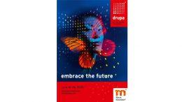 """Unter dem Slogan """"embrace the future"""" lädt die drupa 2020 nach Düsseldorf ein."""