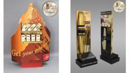 """Bronze-Gewinner: 1/4 Palettendisplay """"Swiss Delice"""" und Gold-Gewinner: Standdisplay """"False Lash Epic Mascara"""". (Bilder: Thimm)"""