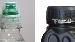Crystal: neuer zweiteiliger Sportverschluss von Bericap (links); Laserdruck auf unebener Fläche für die Originalitätsgarantie (rechts). (Bilder: Bericap)