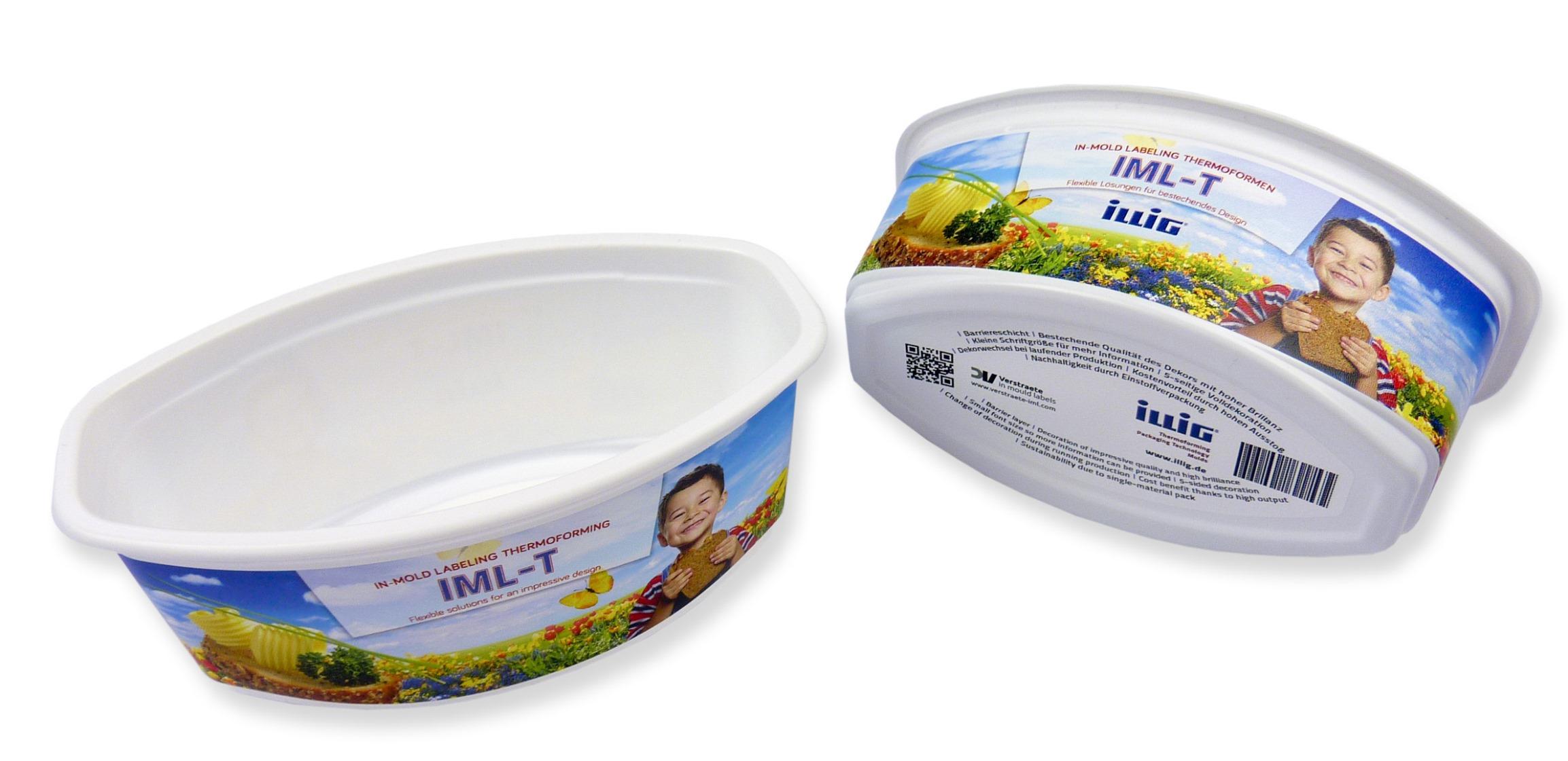 IML-T-dekorierte Becher mit Barriere-Schicht schützen den Inhalt z. B. vor UV- und Sauerstoffeinfluss und verlängern die Haltbarkeit.