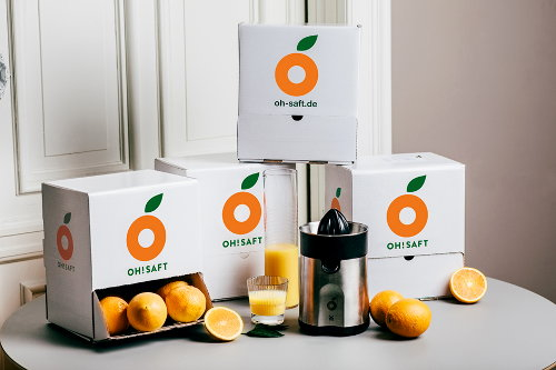"""Der Orangen-Versender """"Oh!Saft"""" informiert auch online über seine Verpackungen"""
