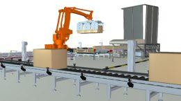 """Bild: Simulation einer Palettieranlage mit der Software """"industrialPhysics"""" ."""