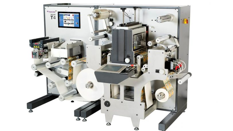Die kompakte All-in one professionelle Etikettendruckmaschine Trojan T4 mit Inline-Finishing