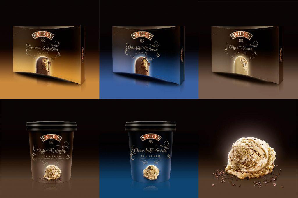 Baileys als Eis – am Stiel oder in 500-ml-Bechern. (Bild: HAJOK Design)