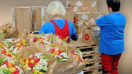 Co-Packing-Aktion zum Versand von Blumen und Präsenten zum Muttertag.