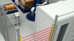 Sicherheitslichtgitter in einer Verpackungshandlingsanlage