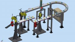 Faltschachtel-Handlingsanlage von ASA mit Fanuc-Robotern