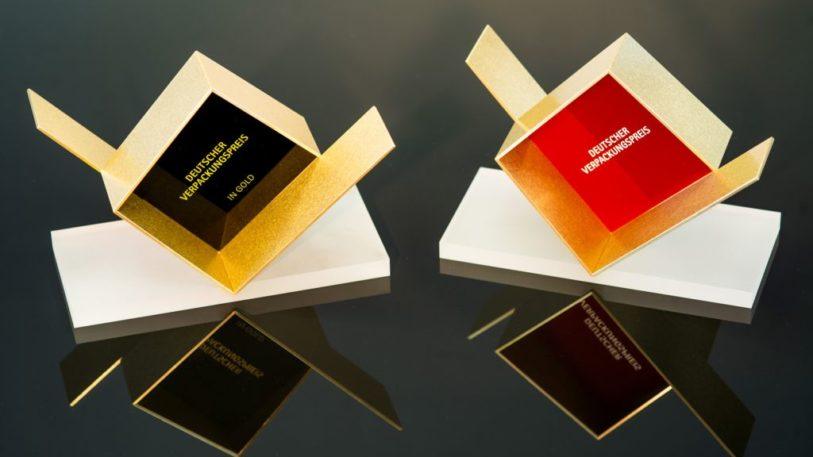 Trophäen für den Deutschen Verpackungspreis 2018