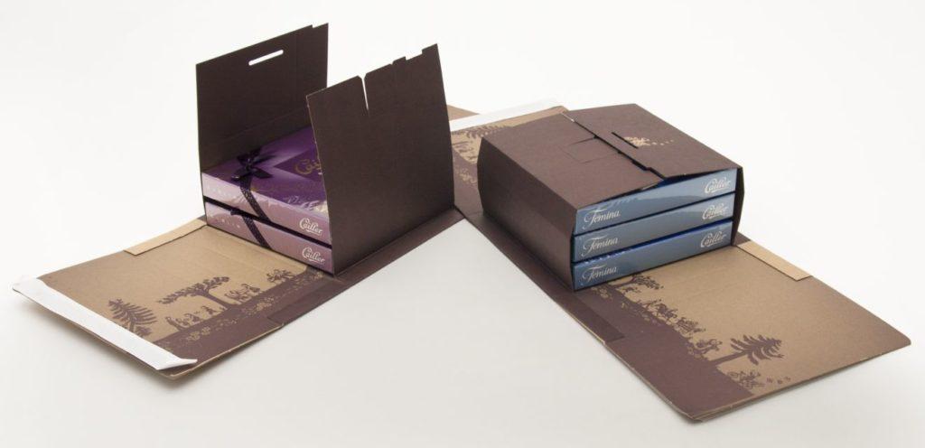 Onlinehandel: Wickelverpackung aus Wellpappe für Cailler-Schokolade