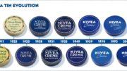 Die Nivea-Dose im Laufe der vergangenen Jahrzehnte