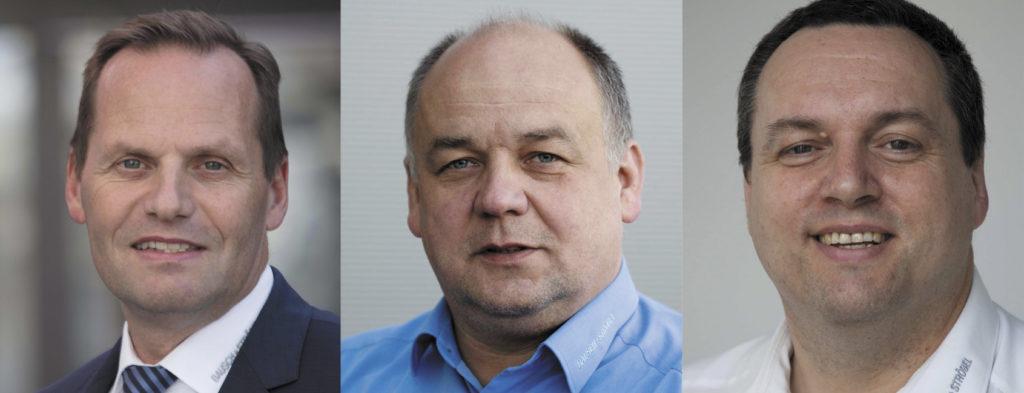 (v.l.n.r.) Dr. Hagen Gehringer (Geschäftsführer Bausch+Ströbel), Erich Bauer (Abteilungsleiter Entwicklung Mechatronik) und Michael Pratz (Abteilungsleiter Training und Qualifikation der B+S-Akademie)