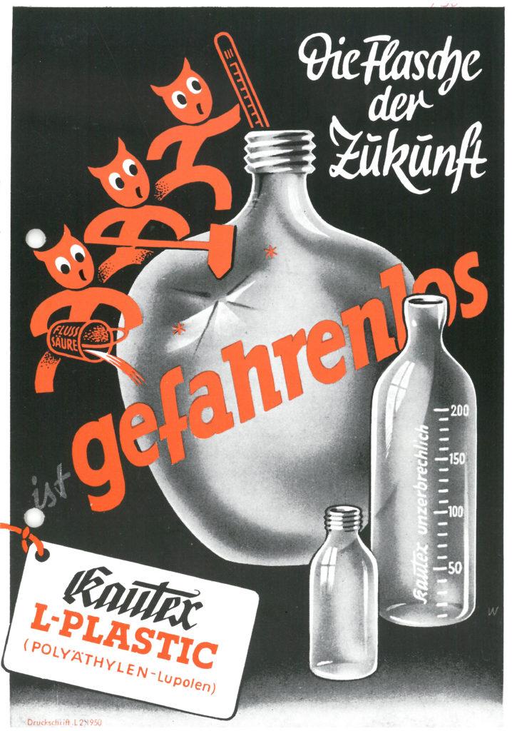 Reklame für den weltweit ersten nahtlos hergestellten Kunststoff-Großbehälter: die Zehn-Liter-Flasche aus Polyethylen.