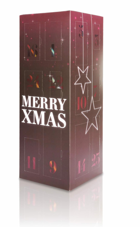 Der Adventskalender punktet durch seine Turmkonstruktion, edle Farben und die stimmungsvolle Laser-Gloss-Veredelung. (Bild: rlc | packaging group)