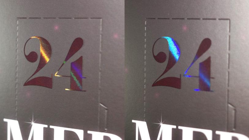 Die Veredelung erzeugt einen aufmerksamkeitsstarken holografischen Effekt in unterschiedlichen Farbschattierungen und erzielt die gewünschte Aufmerksamkeit. (Bild: rlc | packaging group)