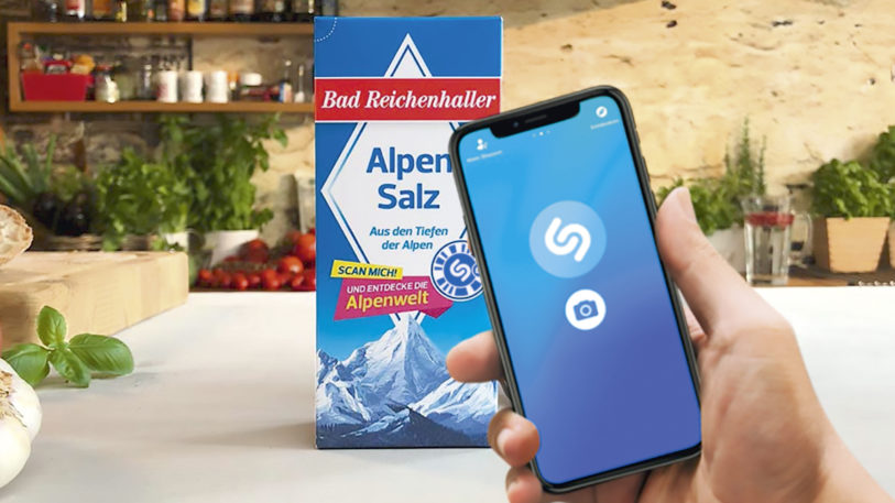 AlpenSalz, AlpenJodSalz, AlpenJodSalz + Fluorid und AlpenJodSalz + Fluorid + Folsäure gelangen mit einer Shazam-Codierung in den Handel. (Bild: taste!)