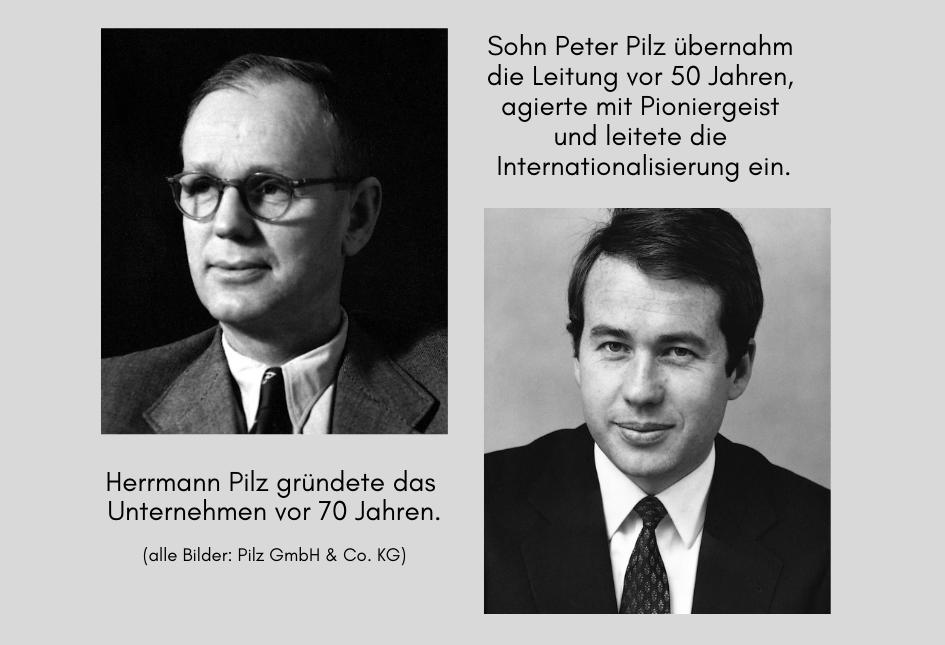 Firmengründer Herrmann und Sohn Peter Pilz