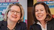 Bundesumweltministerin Svenja Schulze (links) und Gunda Rachut, Vorstand der ZSVR, standen der Presse Rede und Antwort. (Bild: BMU/Sascha Hilgers)