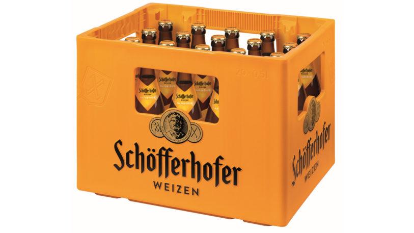 Mandarinfarbener Markenkasten von Schöfferhofer