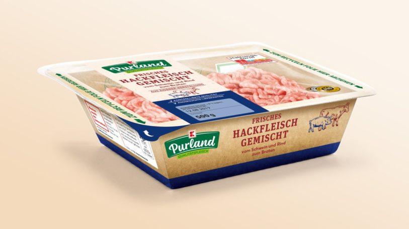 Neue Kartonverpackung für Hackfleisch von Kaufland (Bild: Kaufland)