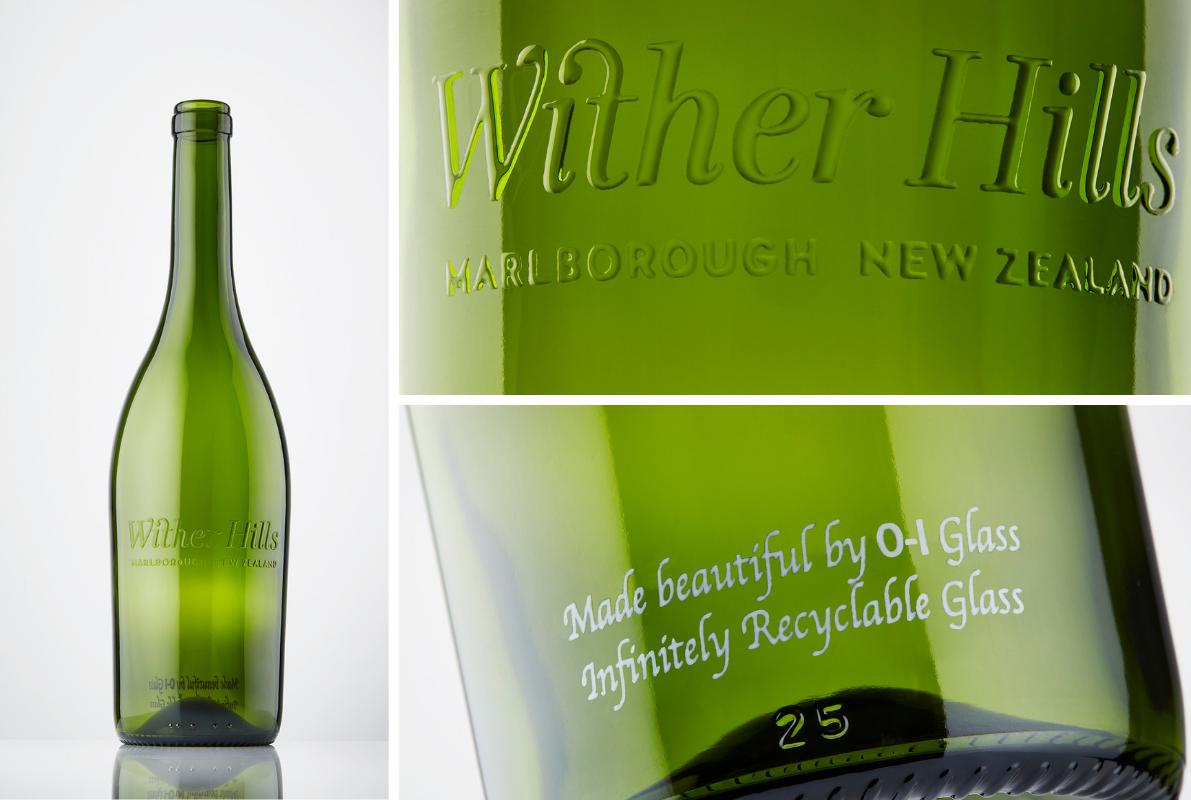 Mit O-I : EXPRESSIONS veredelte Glasflasche für Liones Wines