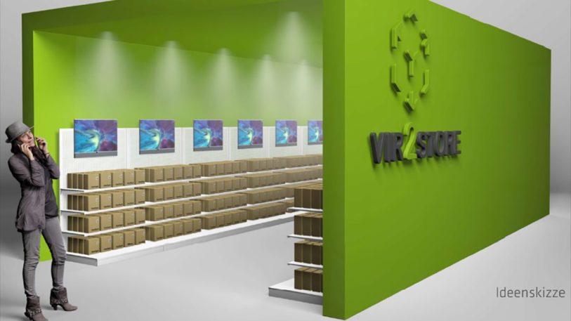 Zukunftsvision eines Ladens mit virtuellen Verpackungen (Bild: Videro AG)