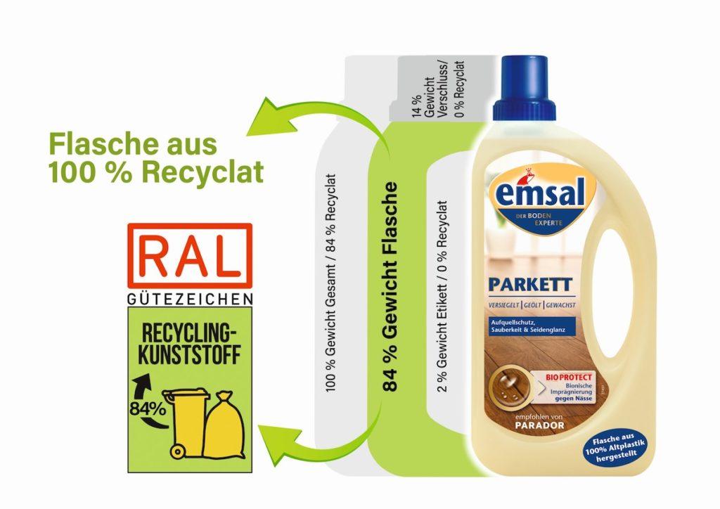 Das RAL Gütezeichen gibt den Anteil von Recyclat aus der Quelle Gelber Sack an der gesamten Verpackung an, inklusive Etikett und Verschluss. (Bild: Werner & Mertz)