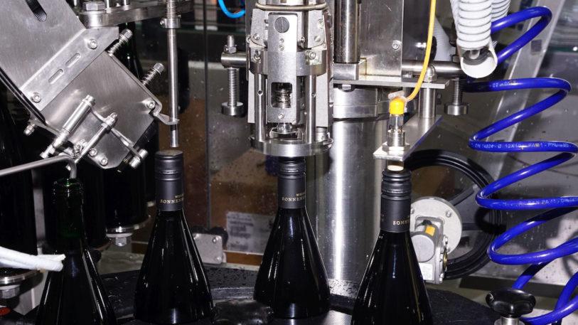 Bis zu 2.500 Flaschen kann die Familie Schäfer stündlich auf ihrer Stroh-Abfülllinie verarbeiten. (Bild: broesele)