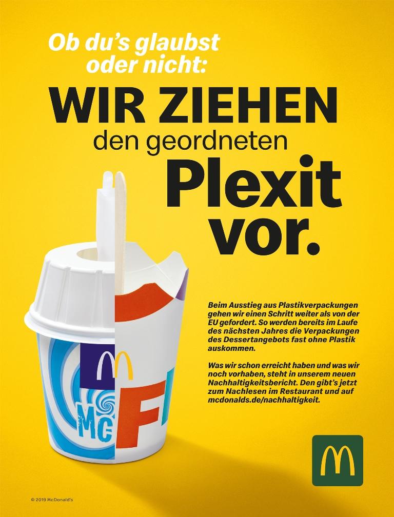 Printanzeige zum Nachhaltigkeitsbericht 2018 (Bild: McDonald's Deutschland)