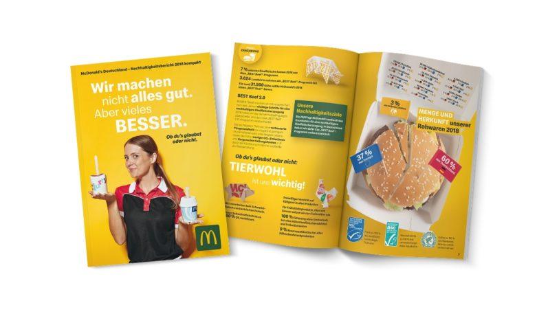 Der Nachhaltigkeitsbericht 2018 von McDonald's ist in den Restaurants erhältlich. (Bild: McDonald's Deutschland)