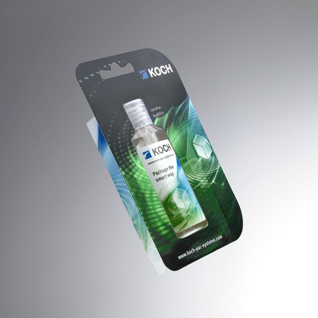 CyclePac-Einstoffverpackung aus Zellstoff mit Standfuß z. B. für Fläschchen, Flacons und Tiegel (Front- und Hinterseite). (Bild: KOCH Pac Systeme GmbH)
