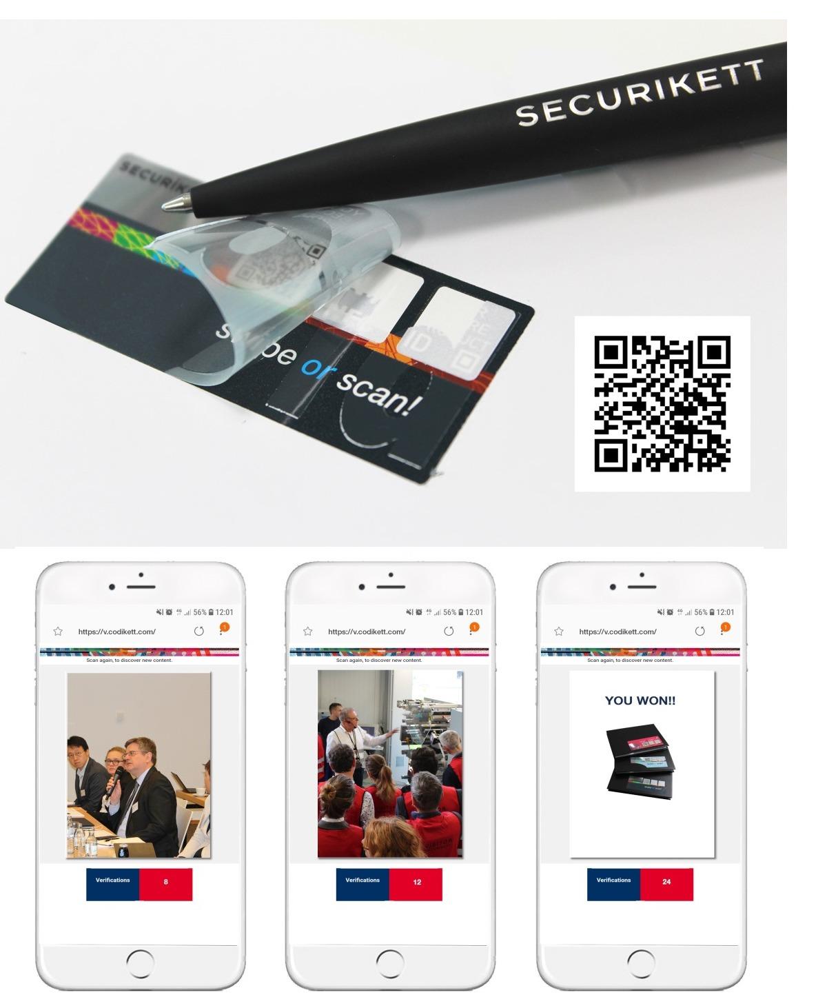 Diese VOID-Etiketten mit integriertem NFC-Chip wurden am 23. Mai 2019 im Rahmen des 3rd Forum Unique Codes präsentiert. Als User Experience konnten die Dynamik und Interaktivität des Codes live getestet werden. Fotos der Veranstaltung konnten bereits wenige Minuten später auf der Antwortseite aufgerufen werden. Bei jedem Scan wechselt das Bild. Auch ein Gewinn war unter den zahlreichen Bildern versteckt. (Bilder: Securikett)