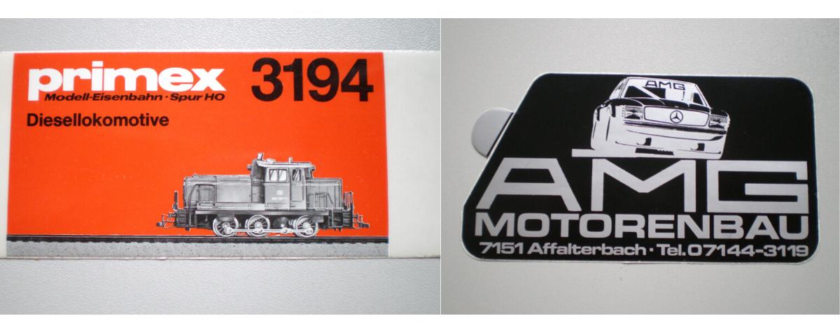 Einfaches Papieretikett: im Rollenbuchdruck gefertigt (links) und Autoaufkleber im Siebdruck gedruckt: mit angestanzter Abziehlasche (rechts). (Bild: Robos GmbH & Co. KG)