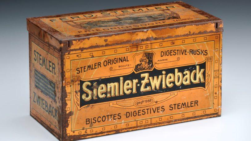 Ältestes Objekt: Blechdose für Zwieback der Firma Stemler, ca. 1900 (Bild: Technoseum)