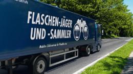 Mobiles Zählzentrum für gebrauchte PET-Pfandflaschen und Getränkedosen entlastet den Handel. Bild: Alba Group)