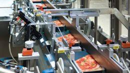 Der Pizzakartonierer HK P3 verarbeitet bis zu 160 Kartons pro Minute.