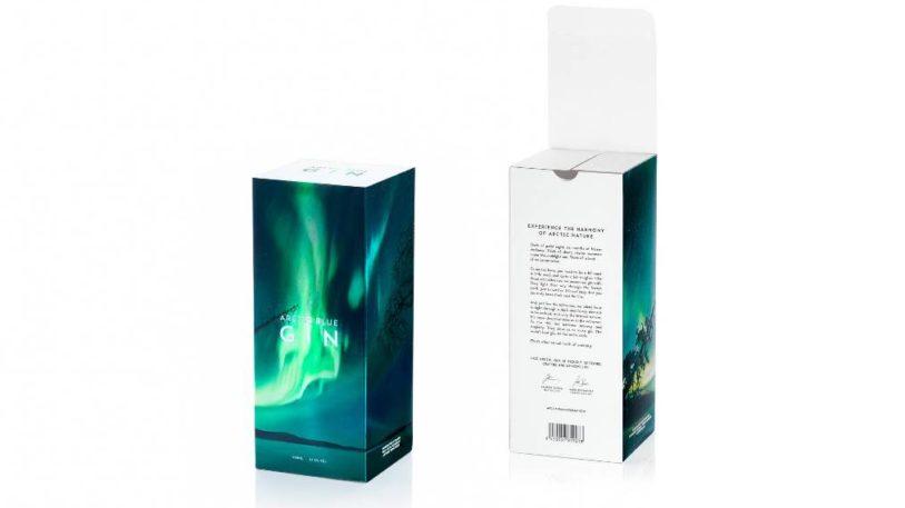 Arctic Blue Gin Verpackung mit Holografieeffekt
