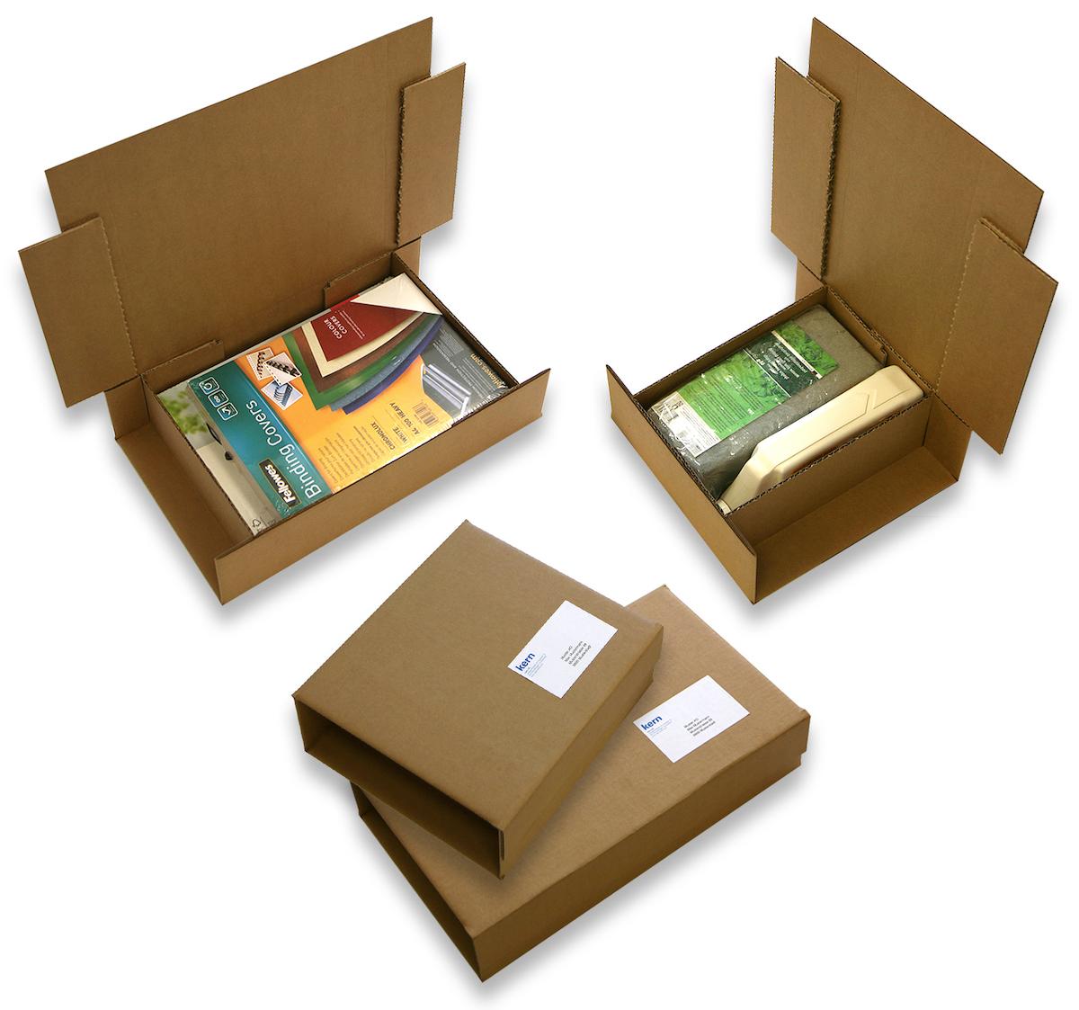 Das Multiformat-Verpackungssystem operiert mit nachhaltigem Recyclingkarton (Wellpappe) und macht zusätzliche Füllmaterialien überflüssig. (Bild: Kern AG)