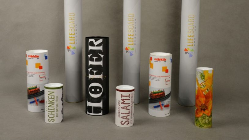 Verschiedene dekorative kaschierte Kartonhülsen