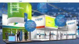 Das Bild zeigt den virtuellen Messestand von Sappi mit verschiedenen Interaktionsmöglichkeiten.