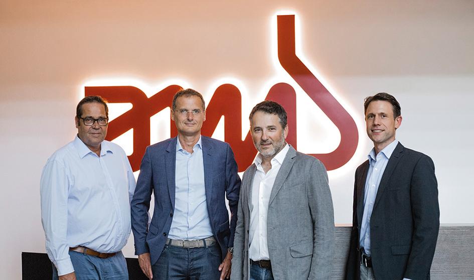 Jan Dietrich PTS, Paolo Cescutti, CPO AMB, Bruno Marin, CEO AMB und Rolf Liebfried, CFO AMB